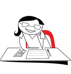 Stick figure girl working on desk vector image
