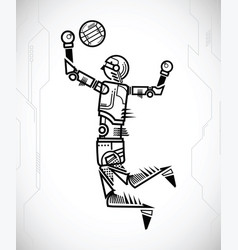 robot playing volleyball vector image