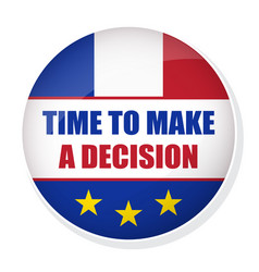 time to make a decision pin button with flag of vector image vector image