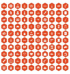 100 combat vehicles icons hexagon orange vector