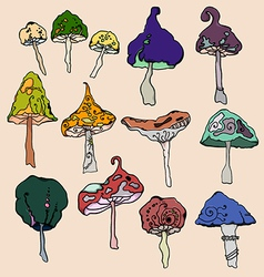 A set of fantasy mushrooms vector image