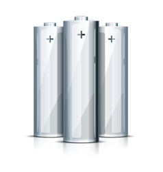 Aa battery standing on white vector
