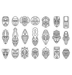 African mask outline set icontribal mask vector