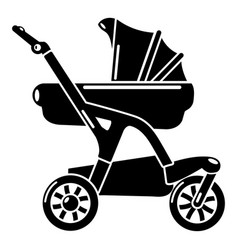 Baby carriage designer icon simple black style vector