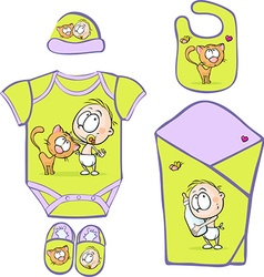 Baby Layette with cute baby and cat - vector