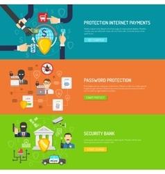 Bank security horizontal banners set vector image