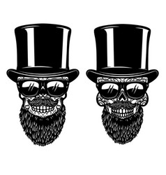 bearded mexican sugar skull in sunglasses design vector image