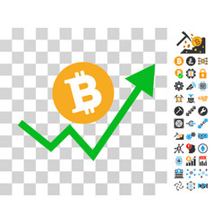 bitcoin grow up trend icon with bonus vector image