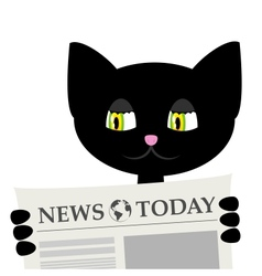 black cat is reading a newspaper vector image