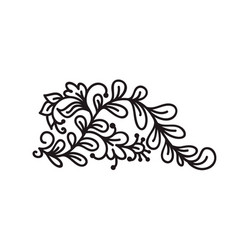 black monoline flourish scandinavian monogram vector image