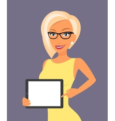 Blonde woman showing something displayed on tablet vector image