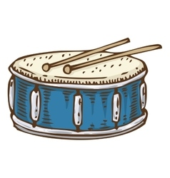 Blue Drum with Drumsticks vector image vector image