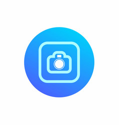 camera icon on round blue background modern icon vector image