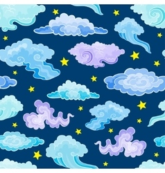 Cartoon Color Clouds Seamless Pattern vector