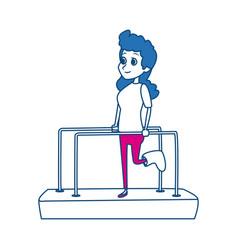 Cartoon girl patient with broken leg in vector