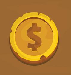 cartoon gold dollar coin vector image