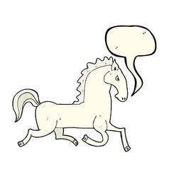 cartoon running white stallion with speech bubble vector image