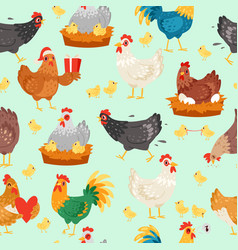 chicken characters in different poses hen vector image