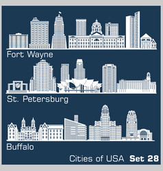 cities usa - fort wayne st petersburg vector image