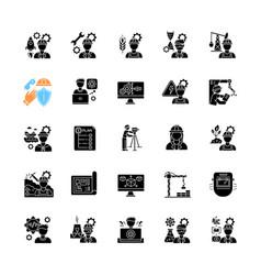 Civil engineering black glyph icons set on white vector