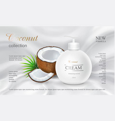 coconut body lotion advertising design cosmetics vector image