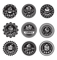 collection of various cupcakes labels vector image