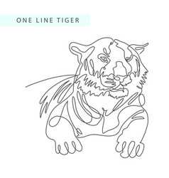 Continuous one line drawing of tiger portrait in vector