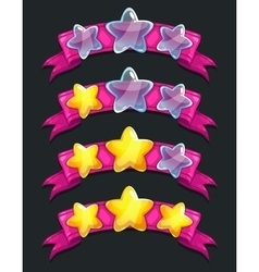 Cool cartoon glassy stars on pink ribbon vector