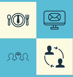 Corporate icons set collection of email coaching vector