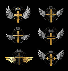 Crosses christianity emblems set heraldic vector