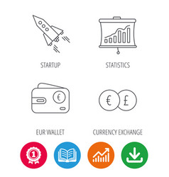 Currency exchange cash money and startup icons vector