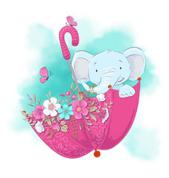 cute cartoon elephant in an umbrella with flowers vector image
