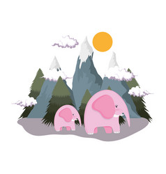 cute elephants pink couple in the landscape vector image