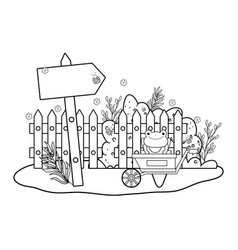 cute toad with wheelbarrow character vector image