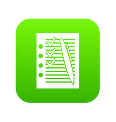 document with plan and pen icon digital green vector image