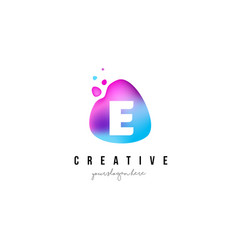 E letter dots logo design with oval shape vector