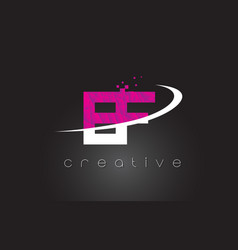 Ef e f creative letters design with white pink vector