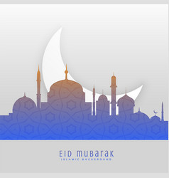 Eid festival beautiful greeting scene background vector