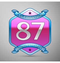 Eighty seven years anniversary celebration silver vector