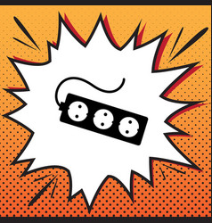 electric extension plug sign comics style vector image