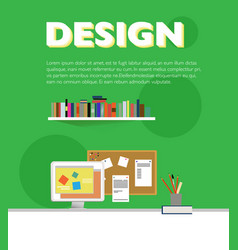 flat designer workplace elements template vector image