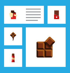 Flat icon bitter set of sweet chocolate cocoa vector