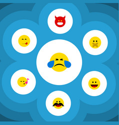 Flat icon expression set of cheerful hush vector