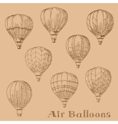 Flying hot air balloons retro engraving sketches vector