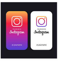 Follow me on instagram creative cards vector