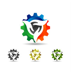 Gear hand logo vector