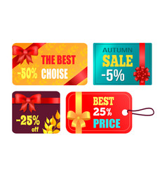 gift cards design with decorative bow best product vector image