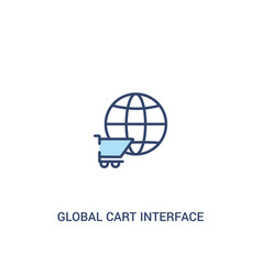 Global cart interface concept 2 colored icon vector
