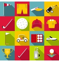 Golf icons set flat style vector