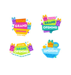 Grand opening labels and badges set design vector
